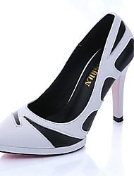 Damen-High Heels-Büro-PU-Stöckelabsatz-Absätze-Schwarz / Weiß