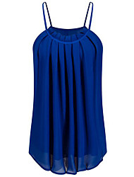 Women's Going out / Casual/Daily Pleated All Match Off-The-Shoulder Simple Summer Tank Top,Solid Strap Sleeveless