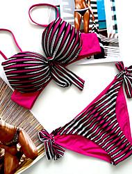 Bikinis Aux femmes Couleur Pleine Push Up Licou Nylon Spandex