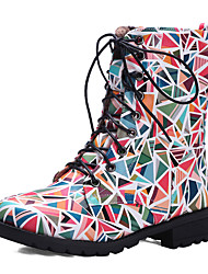Women's Shoes Chunky Heel Round Toe Flower Print Lace Up Combat Boot More Color Available
