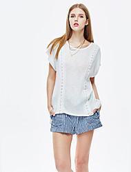 Herz Soul® Damen Rundhalsausschnitt Kurze Ärmel T-Shirt Weiß-11AA27214