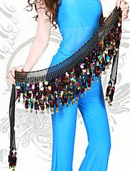 Dança do Ventre Lenços de Quadril para Dança do Ventre Mulheres Actuação Poliéster Lantejoulas 1 PeçaPreto / Azul / Fúcsia / Vermelho /
