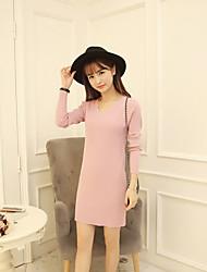 Standard Pullover Einfach Solide Rot / Weiß / Grau V-Ausschnitt Langarm Baumwolle Herbst Mittel Mikro-elastisch