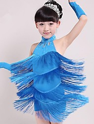 Latin Dance Outfits Children's Performance Spandex Tassel(s) 1 Piece  Latin Dance Sleeveless Natural Dress