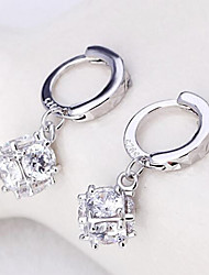 S925 silver cube sugar love window fashion earrings