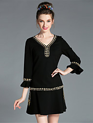 Winter Women Sexy V-Neck Large Plus Size Solid Bead Metal Chain Ruffle 3/4 Sleeve Luxury Elegance Party/Daily Dress