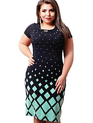 Women's Plus Size / Party/Cocktail Street chic Sheath DressPrint Round Neck Knee-length Short  Rayon All SeasonsMid