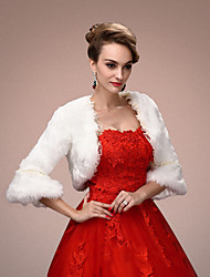 Women's Wrap Shrugs 3/4-Length Sleeve Faux Fur White Wedding / Party/Evening Wide collar 45cm Lace Open Front