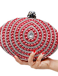 L.WEST Women's The Elegant Luxury Handmade Pearl Diamonds The Oval Evening Bag