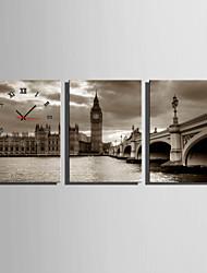 Moderne/Contemporain Autres Horloge murale,Rectangulaire Toile35 x 50cm(14inchx20inch)x3pcs/ 40 x 60cm(16inchx24inch)x3pcs/ 50 x