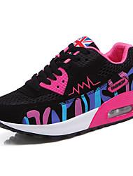 Damen-Sneaker-Lässig Sportlich-Tüll-Flacher Absatz-Komfort-Rosa Weiß Fuchsie