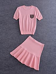 De las mujeres Sexy / Simple / Bonito Noche / Casual/Diario / Vacaciones Verano Camiseta Falda,Escote Redondo Un Color Manga CortaAlgodón