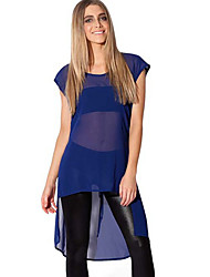 Women's Casual/Daily Street chic Summer Blouse,Solid Round Neck Short Sleeve Blue / Black Polyester Sheer