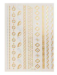 1pc Gold Silver Metallic Tattoo Jewel Leaf Circle Diamond Necklace Flash Temporary Tattoo Sticker YS-19