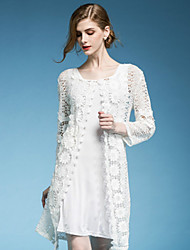 Dreamy Land Women's Going out Cute Spring Cloak/Capes,Solid Round Neck ¾ Sleeve White / Black Others Translucent
