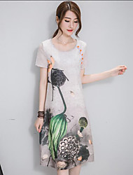 Women's Casual/Daily Chinoiserie Loose Dress,Print Round Neck Knee-length Short Sleeve