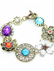 Fashion Vintage Bracelet Antique Copper Rhinestone Crystal Colorful Flower Charms Bracelets Women Luxury Accessories