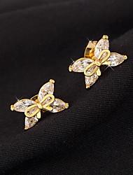 Women Alloy Golden Flower Stud Earrings