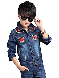 Boy's Fashion Check Casual/Daily Patchwork Jeans / Denim Coat