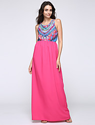Women's Casual/Daily Loose Dress,Color Block Round Neck Maxi Sleeveless Pink Polyester All Seasons