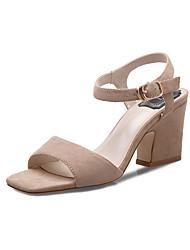 Damen-Sandalen-Kleid / Lässig-Vlies-Blockabsatz-Absätze / Quadratische Zehe / Vorne offener Schuh / Sandalen-Schwarz / Grau / Aktmalerei