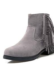 Women's Boots Fall / Winter Comfort / Round Toe Fleece Outdoor / Office & Career / Casual Chunky Heel Tassel Black /