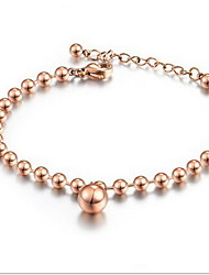 Rose Gold/Silver Bead Strand Bracelet with pendant