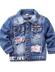 Boy's Cotton Spring/Autumn Fashion Cartoon Patchwork Hole Long Sleeve Cowboy Outerwear Denim Jacket Coat