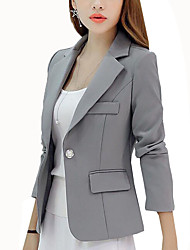 Women's Casual/Daily / Work Simple Hin Thin Slim Fall Blazer,Solid Peaked Lapel Long Sleeve