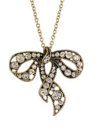 Rhinestone Bowknot Pendant Necklace Jewelry