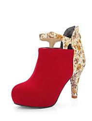 Feminino-Botas-Botas da Moda-Salto Cone-Preto Marrom Vermelho-Flanelado Courino-Escritório & Trabalho Social Festas & Noite