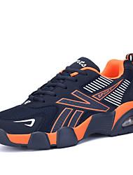 Herrenschuhe-Sportlich-Sneaker-Tüll-Schwarz / Blau / Orange
