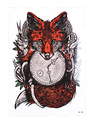 1pc Tattoo Sticker for Women Men Body Arm Art Design Red Fox Clock Time Pattern Temporary Tattoos Sticker HB-388