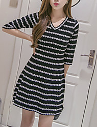 Women's Going out / Casual/Daily Simple Sweater Dress,Striped V Neck Above Knee ½ Length Sleeve