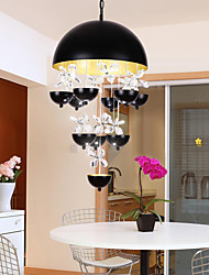 New 45W Modern LED Windbell Crystal Pendant Lights Metal Living Room Cafe Restaurant Kitchen Light Fixture