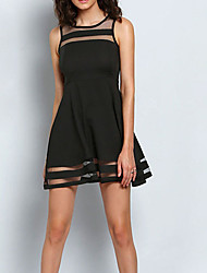 Women's Going out Street chic Sheath Dress,Solid Round Neck Above Knee Sleeveless Black Others Summer