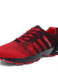 Women's Sneakers Spring Fall Comfort Tulle Athletic Flat Heel Lace-up Pink Black and Red Black and White