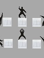 AYA™ Set of 6 DIY Creative Kongfu Switch Stickers Wall Decor