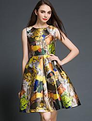 Mulheres Evasê Vestido,Happy-Hour / Casual / Festa/Coquetel / Férias Vintage / Moda de Rua / Sofisticado Estampado Decote RedondoAcima do