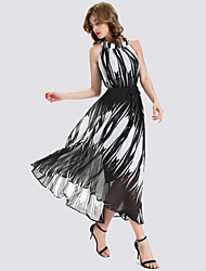 Women's Casual/Daily Simple Sheath Dress,Print Halter Maxi Sleeveless Black Polyester Summer