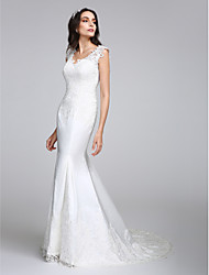 Mermaid / Trumpet V-neck Court Train Satin Wedding Dress with Appliques Button by LAN TING BRIDE®