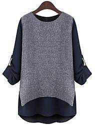 Damen Einfarbig Anspruchsvoll Übergröße T-shirt,Rundhalsausschnitt Frühling Langarm Blau / Weiß Polyester Mittel