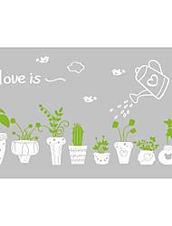 ботанический Наклейки Простые наклейки Декоративные наклейки на стены,Vinyl материал Съемная / Положение регулируется Украшение дома