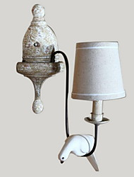 millésime oiseau en bois véritable faire lampe de mur de couleur OLF dans le style de campagne qui, avec l'ombre de tissu