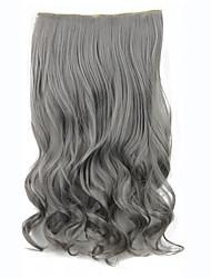 encaracolado clipe sintético em extensões do cabelo ondulado 60cm 120grams gary fibra resistente ao calor 5clips clipe na peruca