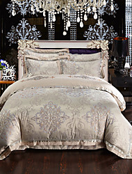 2016 new Luxury Silk Cotton Blend Duvet Cover Sets Queen King Size Bedding Set