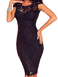 Women's  Black Lace Open Back Chained Party Dress