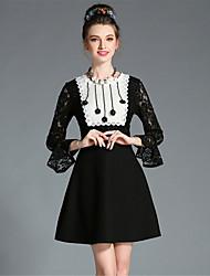 aofuli mujeres más del tamaño del grano bordado otoño ver a través vestido delgado elegante de una línea manga de la llamarada del cordón