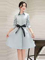 Women's Going out Street chic Shirt Dress,Solid Shirt Collar Above Knee Long Sleeve White / Brown / Gray Polyester Fall