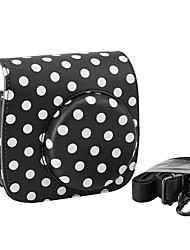 pu lederen case mini-camera voor Fujifilm instax mini 8 met afneembare schouderriem, zwart